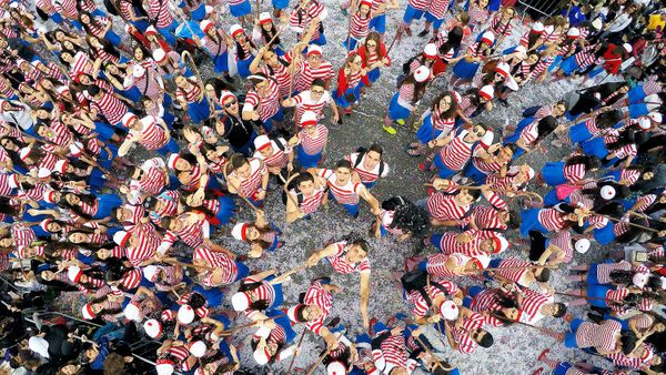 "First prize in ""dronies"": ""Where's Wally?"" taken in Limassol Carnaval, Cyprus"