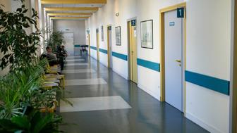 Hospital Waiting Room, Rouen hospital, France, Department of pneumology. (Photo By BSIP/UIG via Getty Images)