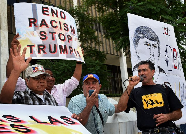 Latino community activists protest Trump's candidacy in Los Angeles on August 19.