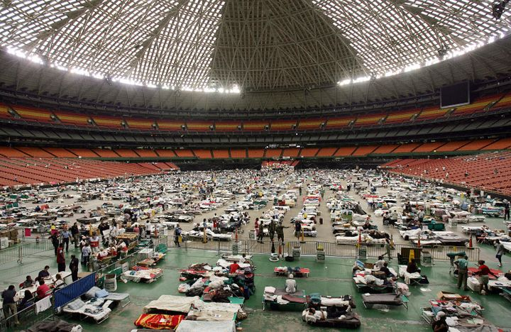 <p>Hurricane Katrina evacuees gather at the Astrodome stadium in Houston on Sept. 9, 2005.</p>