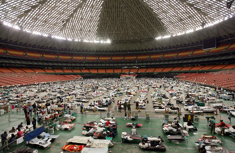 Hurricane Katrina evacuees gather at the Astrodome stadium in Houston on Sept. 9,