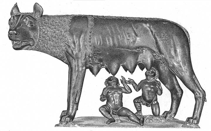 Romulus and Remus suckling from a wolf.