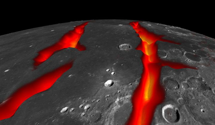 An artist's concept of Earth's moon, representing how some volcanic structures may have looked while active.