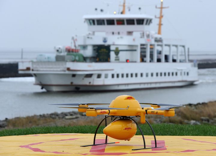 A remotely controlled DHL drone transporting medicines is pictured in Norden-Norddeich prior to take off in Nov. 18, 2014.
