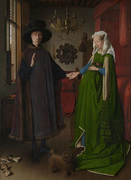 "<a href=""https://en.wikipedia.org/wiki/File:Van_Eyck_-_Arnolfini_Portrait.jpg"">Jan van Eyck, ""The Arnolfini Portrait,"" 1434</"