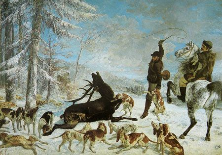 "<a href=""https://en.wikipedia.org/wiki/File:L%27Hallali_du_cerf.jpg"">Gustav Courbet, ""The Kill of Deer,"" circa 1867</a>"