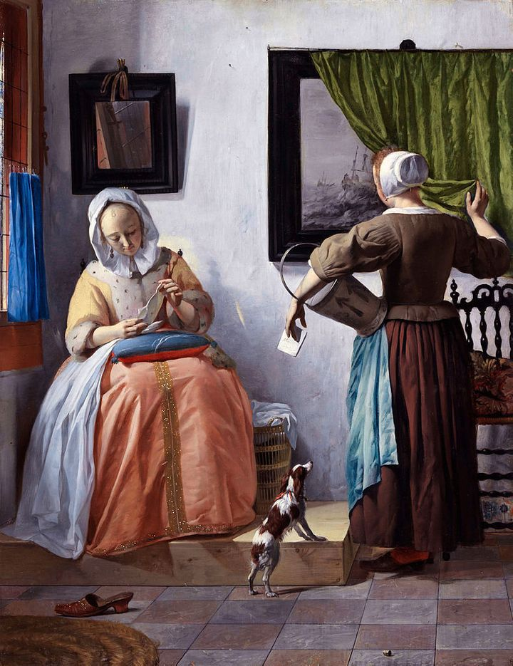 "<a href=""https://en.wikipedia.org/wiki/File:Woman_Reading_a_Letter_by_Gabri%C3%ABl_Metsu.jpg"">Gabri&euml;l Metsu, ""Woman Read"
