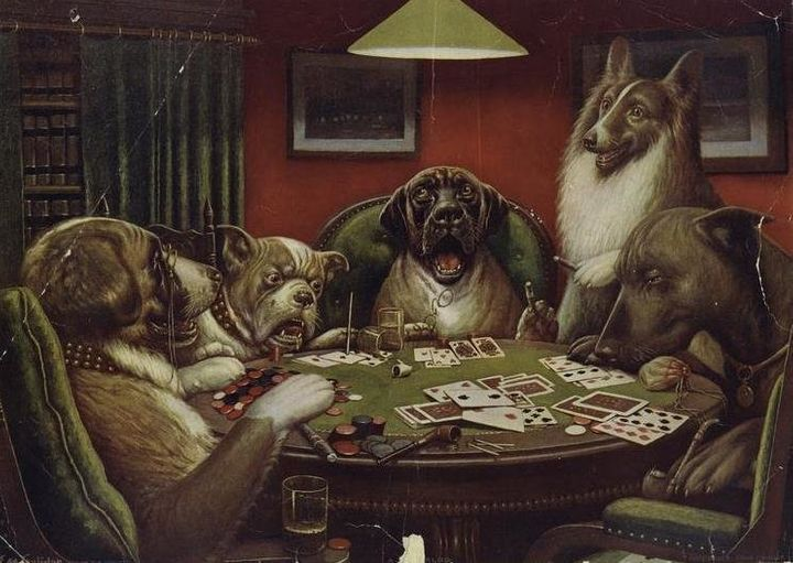"<a href=""https://commons.wikimedia.org/wiki/File:A_Waterloo_Dogs_Playing_Poker.jpeg"">C. M. Coolidge, ""Waterloo,"" circa 1906</"