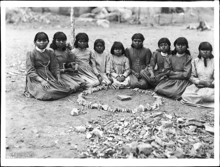 <span>A group of nine Havasupai girls playing a game on their small reservation in the middle of Grand Canyon National P