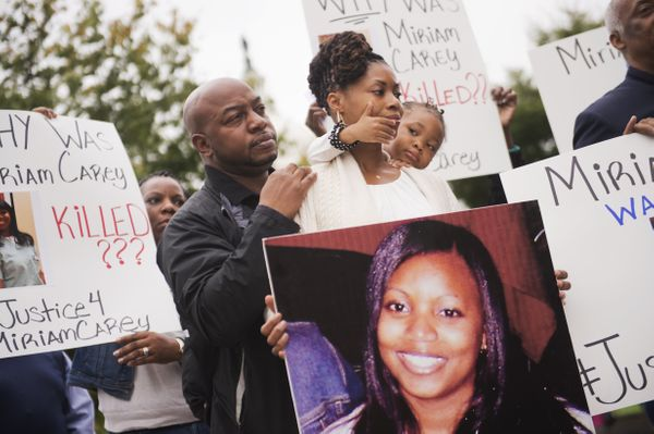 UNITED STATES - OCTOBER 3: Family and friends of Miriam Carey, who was killed last year by Capitol Police, protest her death