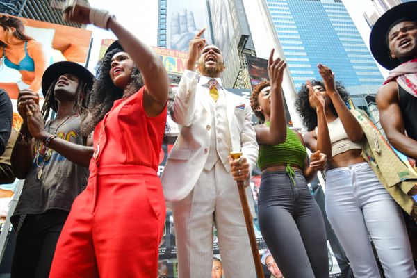 TIMES SQUARE, NEW YORK, UNITED STATES - 2015/08/13: Members of Wondaland shout, 'Say his name!' during the verse of their son