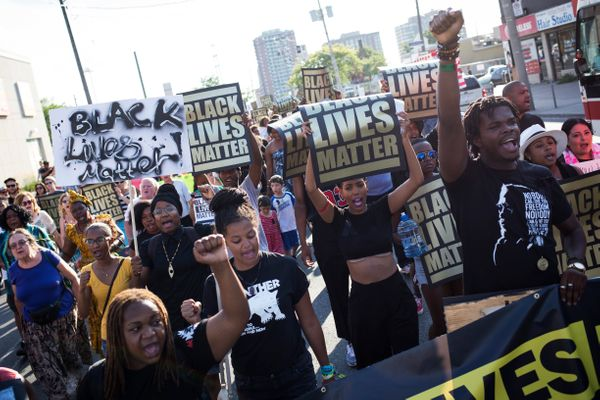 TORONTO, ON- JULY 27 - Demonstrators chant 'black lives matter' during a Black Lives Matter protest that marched from Gilbert