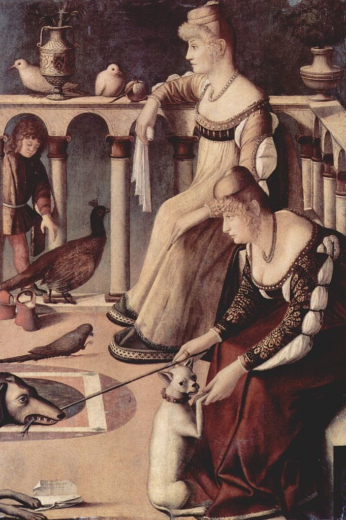 "<a href=""https://en.wikipedia.org/wiki/File:Vittore_Carpaccio_079.jpg"">Vittore Carpaccio, ""Two Venetian Ladies,"" circa 1490</"