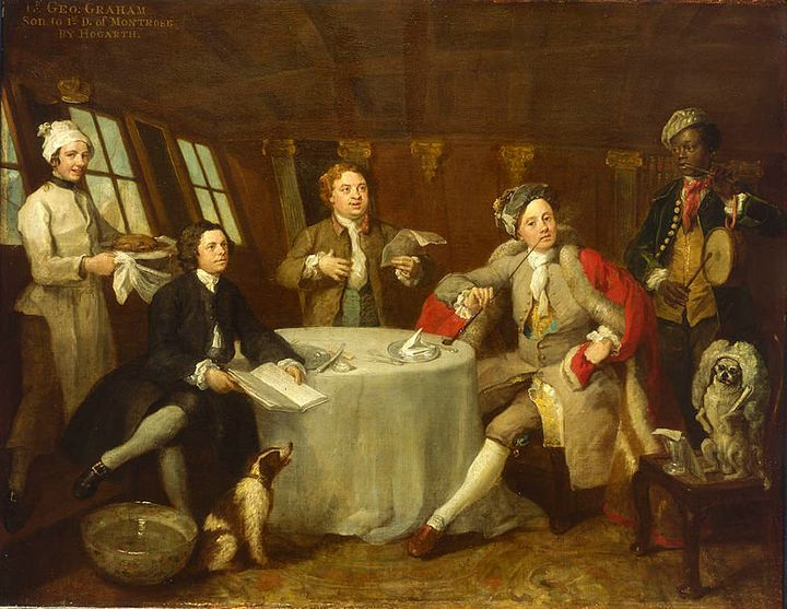 "<a href=""https://en.wikipedia.org/wiki/File:Captain_Lord_George_Graham,_1715-47,_in_his_Cabin.jpg"">William Hogarth, ""Captain"