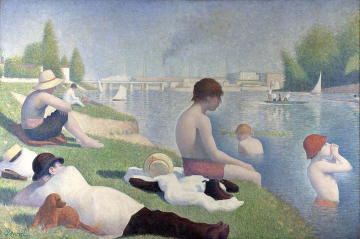 """<a href=""""https://en.wikipedia.org/wiki/File:Baigneurs_a_Asnieres.jpg"""">Georges Seurat, """"Bathers at Asni&egrave;res,"""" 1884</a>"""