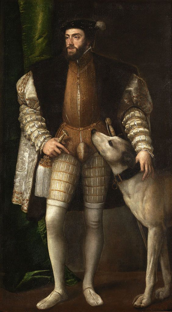 "<a href=""https://en.wikipedia.org/wiki/File:Tizian_081.jpg"">Titian, ""The Portrait of Charles V with a Dog,""&nbsp;1533</a>"