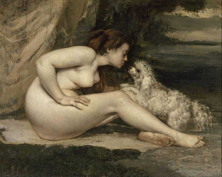 """<a href=""""https://en.wikipedia.org/wiki/File:Gustave_Courbet_-_Nude_Woman_with_a_Dog_-_Google_Art_Project.jpg"""">Gustave Courbet"""