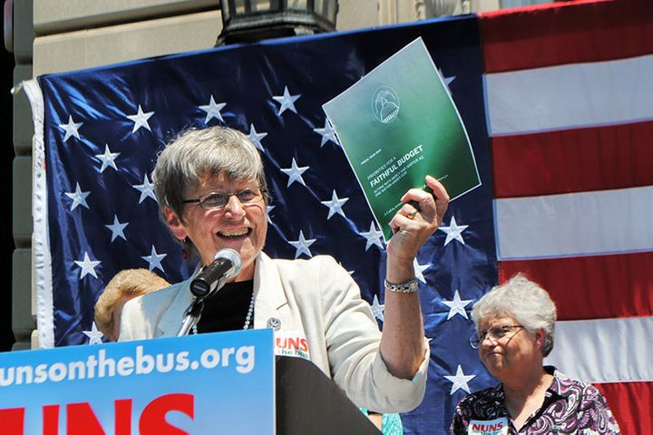 <span>Sister Simone Campbell speaks during 2012 &ldquo;Nuns on the Bus&rdquo; tour.&nbsp;</span>
