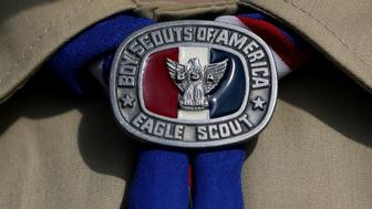 <p>An Eagle Scout displays a badge.&nbsp;</p>
