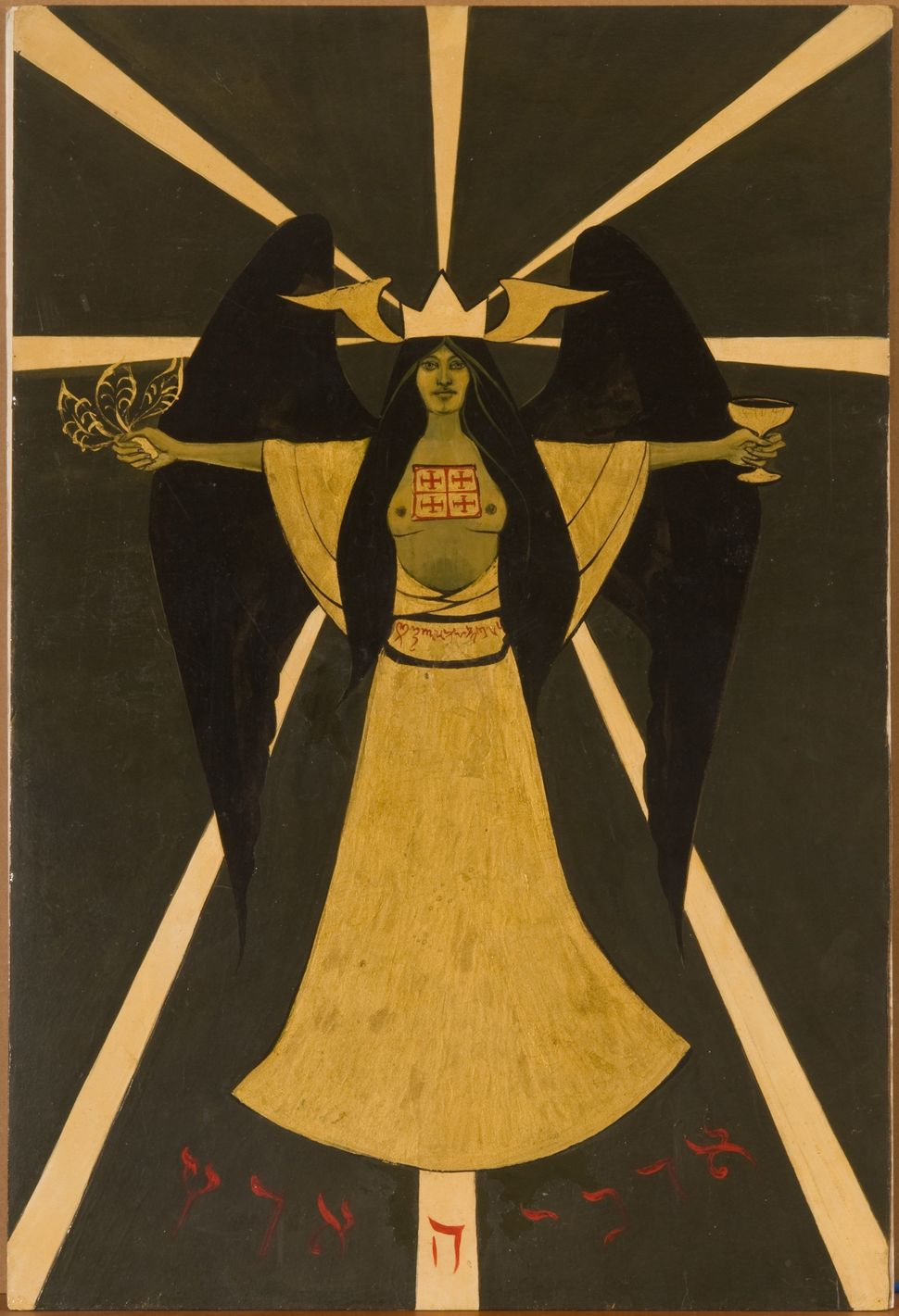 Holy Guardian Angel according to Aleister Crowley 1966 casein and gold lacquer on board 29.5 x 19.25 inches