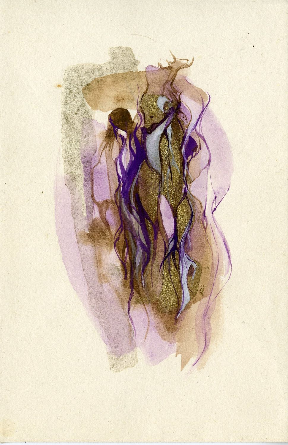 Untitled (from Lions Path series) n.d. watercolor and gold on paper 5 x 7 inches (image)