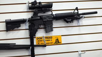 POMPANO BEACH, FL - JANUARY 16: An AR-15 is seen for sale on the wall at the National Armory gun store on January 16, 2013 in Pompano Beach, Florida. President Barack Obama today in Washington, DC announced a broad range of gun initiatives that his administration thinks will  help curb gun violence.  (Photo by Joe Raedle/Getty Images)