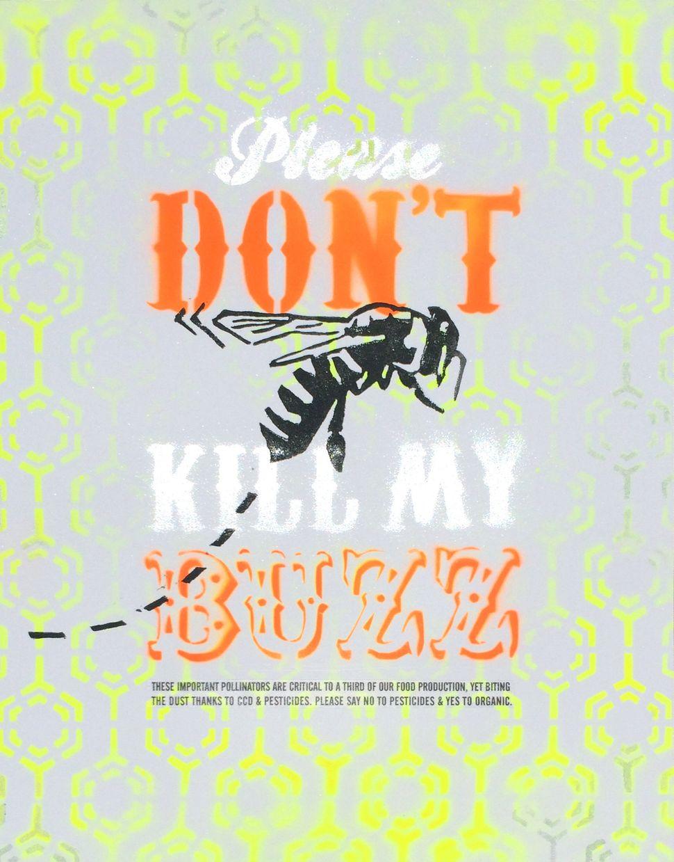 "<span><span>""Pollinator Propaganda: Series 1,"" stencil/spray paint & wood block prints</span></span>"