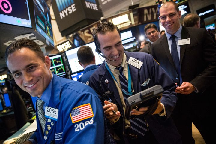 Traders on the floor of the New York Stock Exchange on the morning of August 26, 2015 in New York City. After a volatile week