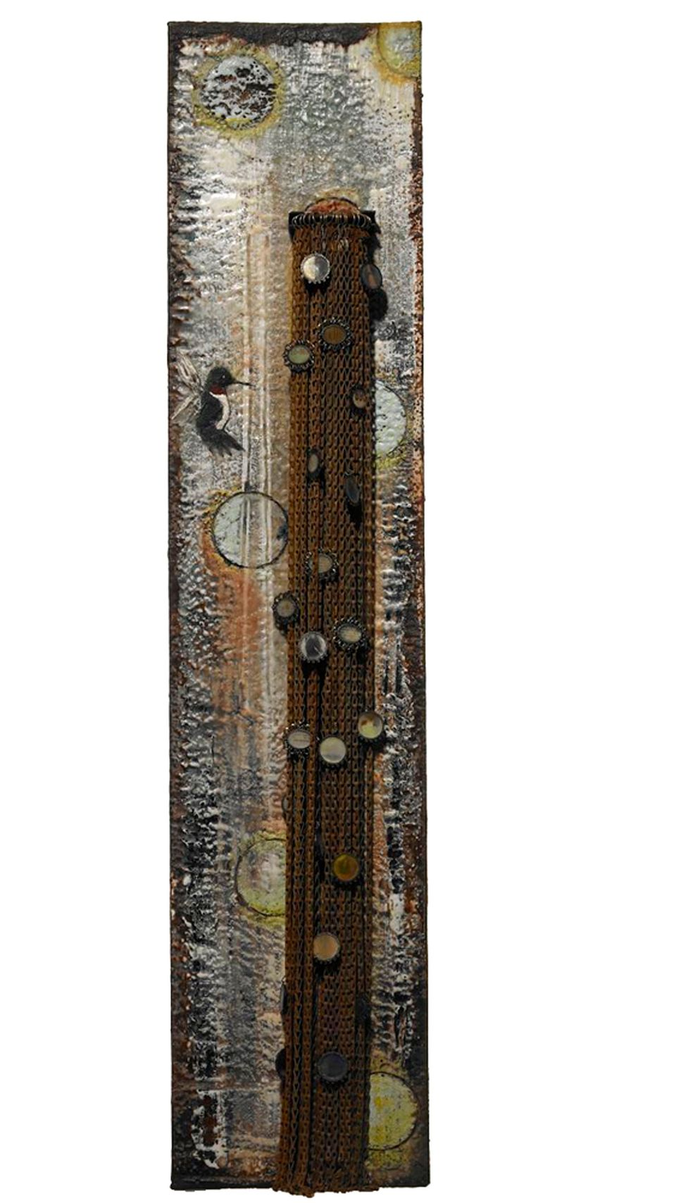 """Urban Garden,"" encaustic wax on wood and found metal objects"