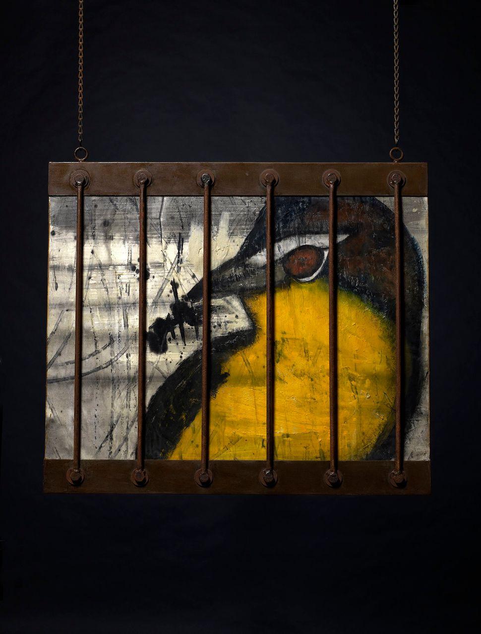 """Bird,"" encaustic wax on wood and handmade iron bars/frame"