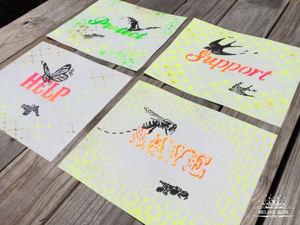 """Pollinator Propaganda: Series 2,"" stencil/spray paint"