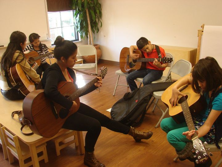 <span>Adriana Campos, front left, is a youth band member at Christ&rsquo;s Foundry United Methodist Church in Dallas who teac