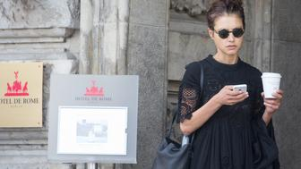 BERLIN, GERMANY - AUGUST 19:  Hannah Ware is seen checking her smartphone at Hotel de Rome on August 19, 2015 in Berlin, Germany.  (Photo by Ben Brittain Cohen/GC Images)