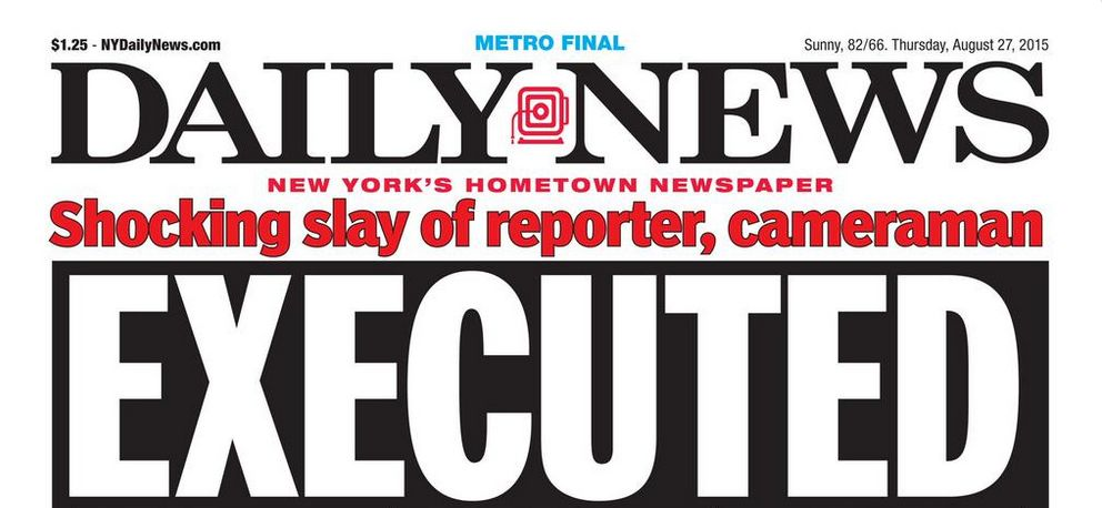 New York Daily News cover showing images of Virginia journalists' murder