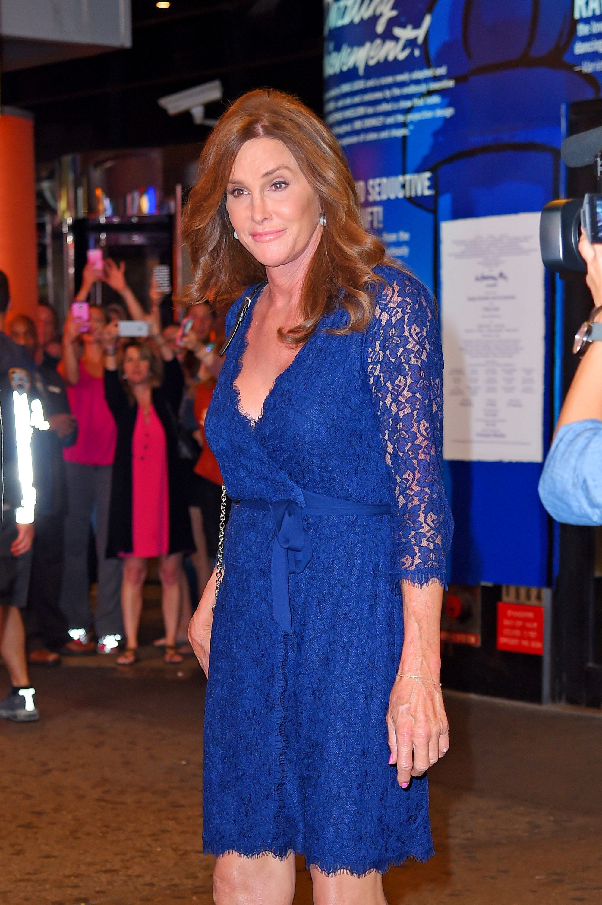 NEW YORK - JUNE 30: Caitlyn Jenner seen leaving 'An American in Paris' Broadway show in a bright blue lace dress on June 30, 2015 in New York, New York.  (Photo by Josiah Kamau/BuzzFoto via Getty Images)
