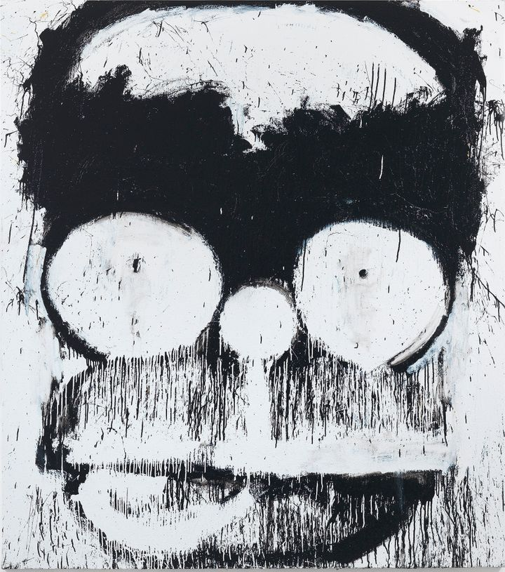 Joyce Pensato Groucho-Homer 2014 Enamel on linen 90 x 80 inches 228.6 x 203.2 cm Signed and dated verso Courtesy of the artis