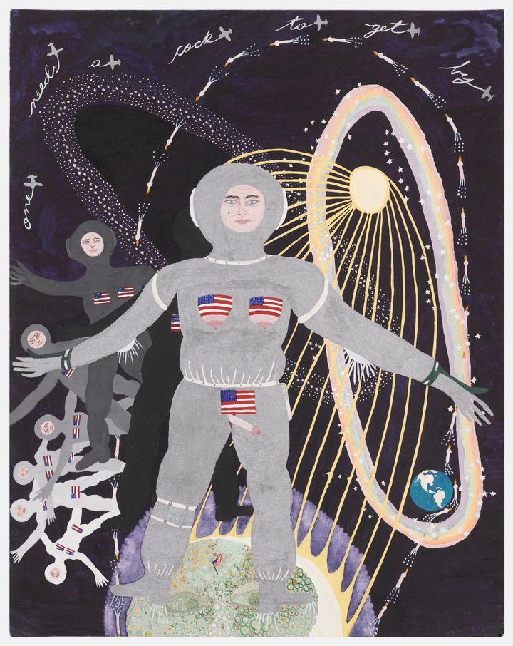 Woman Landing on Man in the Moon1971 Ann Leda Shapiro, American, born 1947. Watercolor on paper 20x14in. (50.8x35.6cm). Seatt