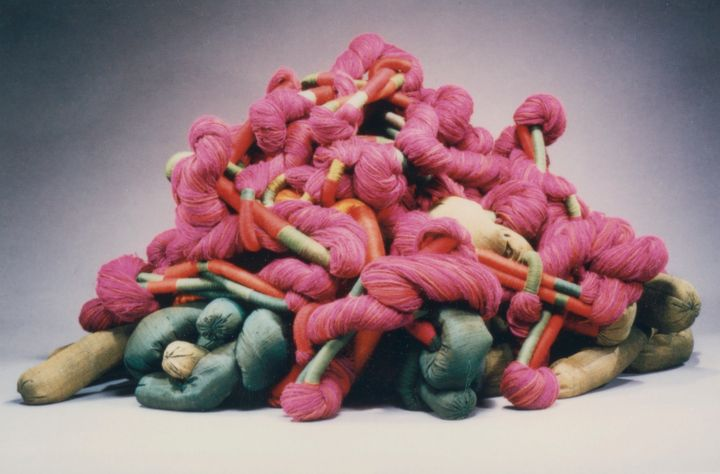 Sheila Hicks, Voyage of Serpentina, 1985. Linen, silk, wool, and synthetic fibers, 19 pieces, approximately 34 x 54 inches ea