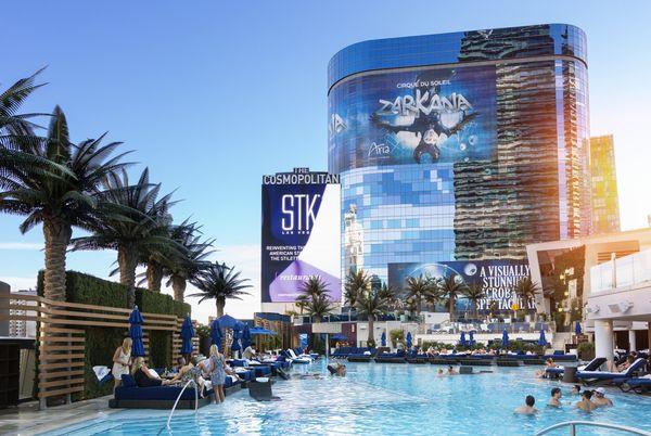 "The glitzy pools on the strip offer <a href=""https://www.thrillist.com/entertainment/las-vegas/2015-las-vegas-pool-party-cale"