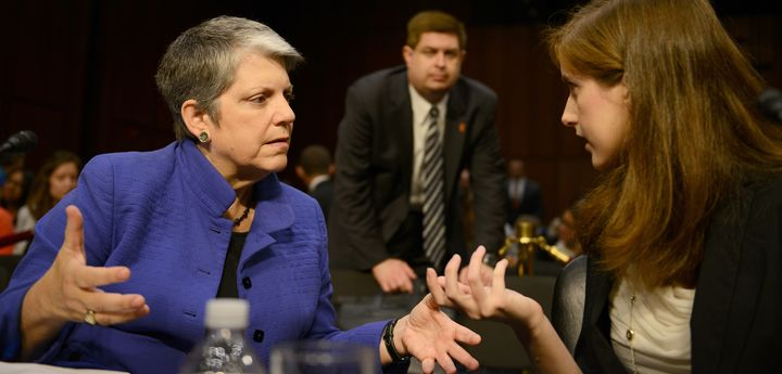 University of California System President Janet Napolitano speaks with Dana Bolger, co-founder of the advocacy group Know You