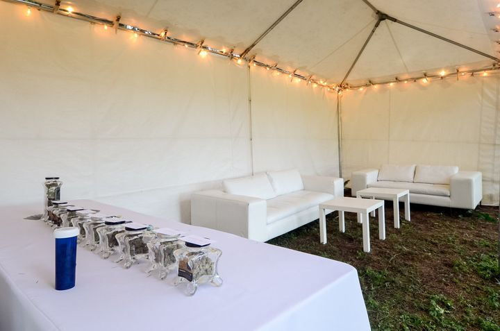 The 'weed bar,' along with a tent to keep smoke contained.