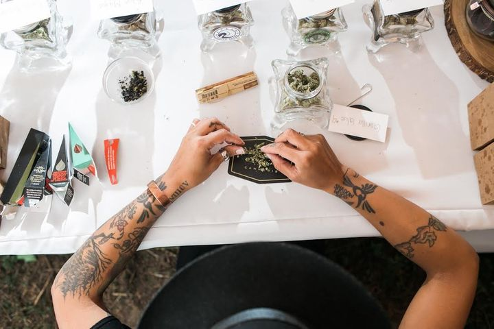 The couple had a budtender on hand to answer questions for guests and facilitate the process, including moderating atten