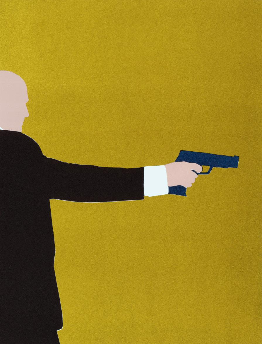 Man aiming handgun, side view