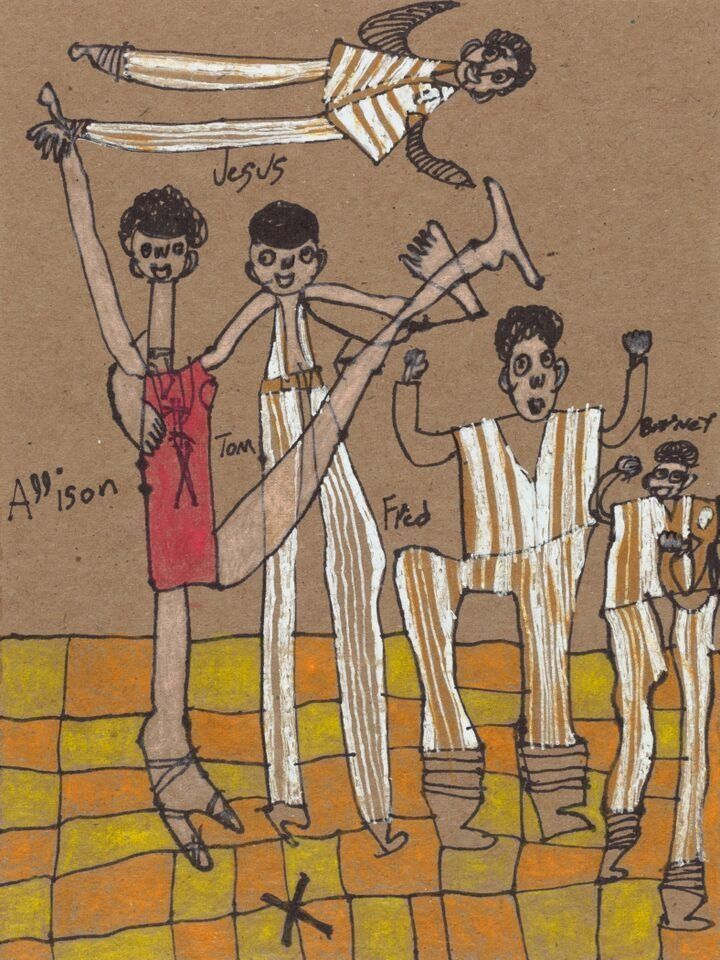 Burlington Dancers by Valerie Jenkins © 2015 Creativity Explored, mixed media on cardboard, 8 x 6 inches