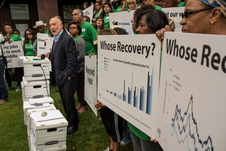 Joseph Stiglitz, a Nobel Prize-winning economist, speaks alongside grassroots activists from the Fed Up campaign at a press c