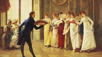 UNITED KINGDOM, CIRCA 1882:  Flirtation. Artist b. 1852 d. 1913 (Photo by Henry Gillard Glindoni/Fine Art Photographic/Getty Images)