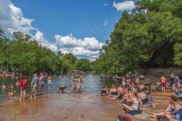 "This massive<a href=""https://austintexas.gov/department/barton-springs-pool"">three-acre swimming pool</a>is fed f"
