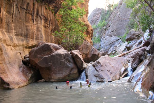 """When hiking<a href=""""http://www.nps.gov/zion/planyourvisit/thenarrows.htm"""">The Narrows</a>, you won't findat"""