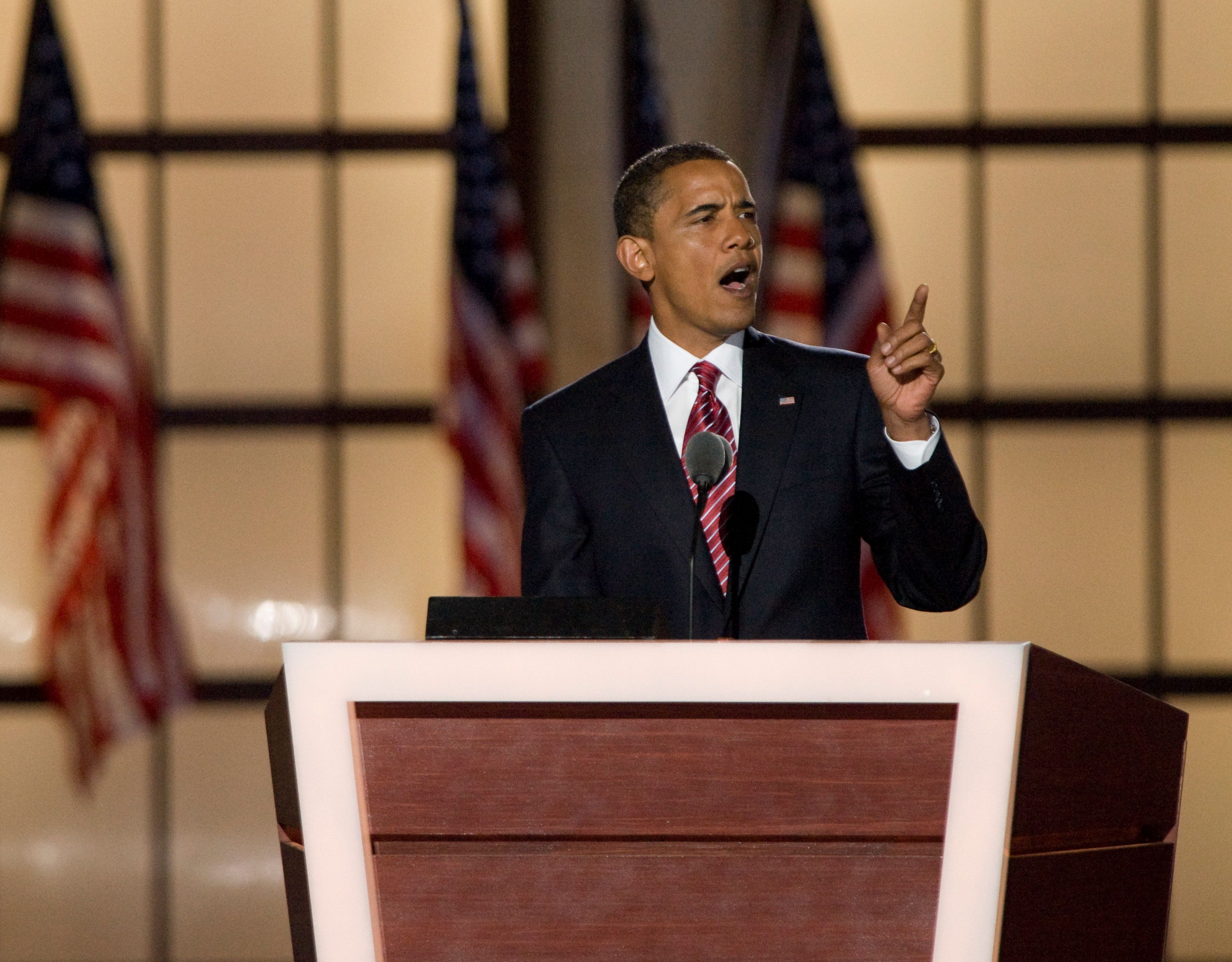 UNITED STATES - AUGUST 28:  Democratic Presidential nominee Barack Obama speaks during the 2008 Democratic National Convention at Invesco Field in Denver, Colo., on Aug. 28, 2008.  (Photo By Bill Clark/Roll Call/Getty Images)