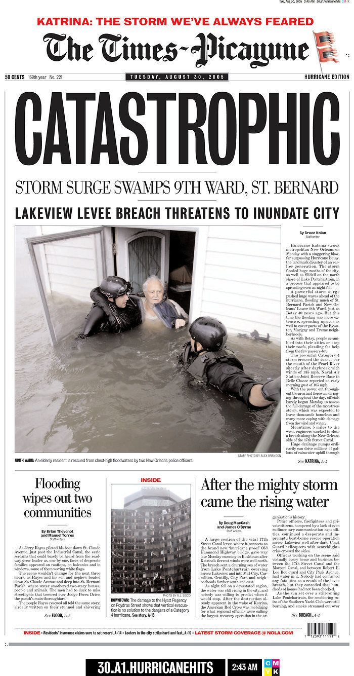 A catastrophic storm surge swamped the New Orleans' 9th ward and St. Bernard, as a Lakeview levee breach threatened to i